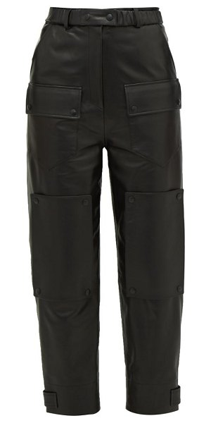Symonds Pearmain high rise leather cargo trousers in black