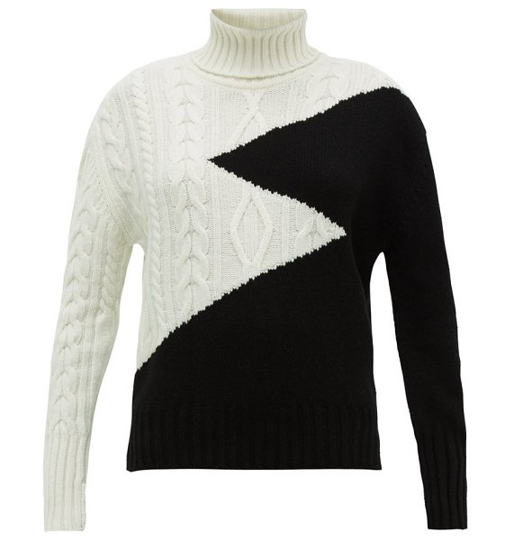 Symonds Pearmain zigzag intarsia roll neck wool sweater in black white