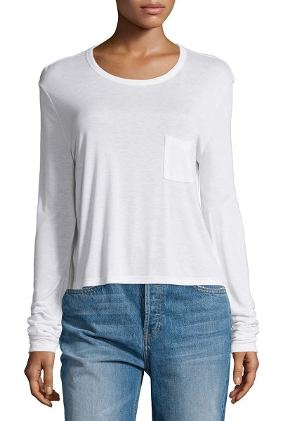 alexanderwang.t Classic Cropped Long-Sleeve Tee in white