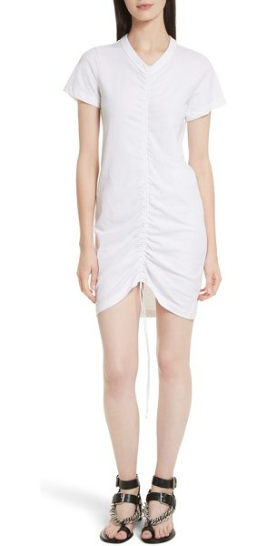 T By Alexander Wang Gathered T Shirt Dress In White Shopstasy