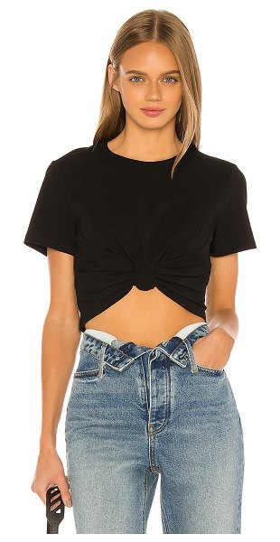 T by Alexander Wang high twist knot crop top in black & black