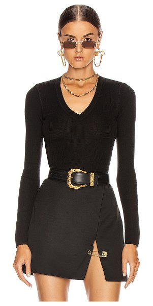 T by Alexander Wang long sleeve knit top in black