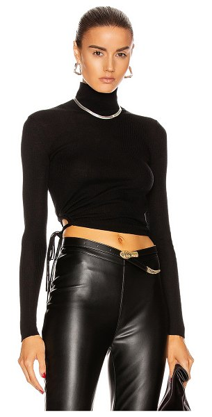 T by Alexander Wang ruched rib long sleeve cropped turtleneck top in black