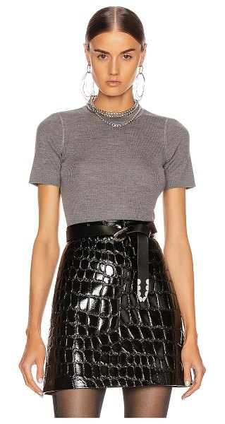 T by Alexander Wang short sleeve knit top in heather grey