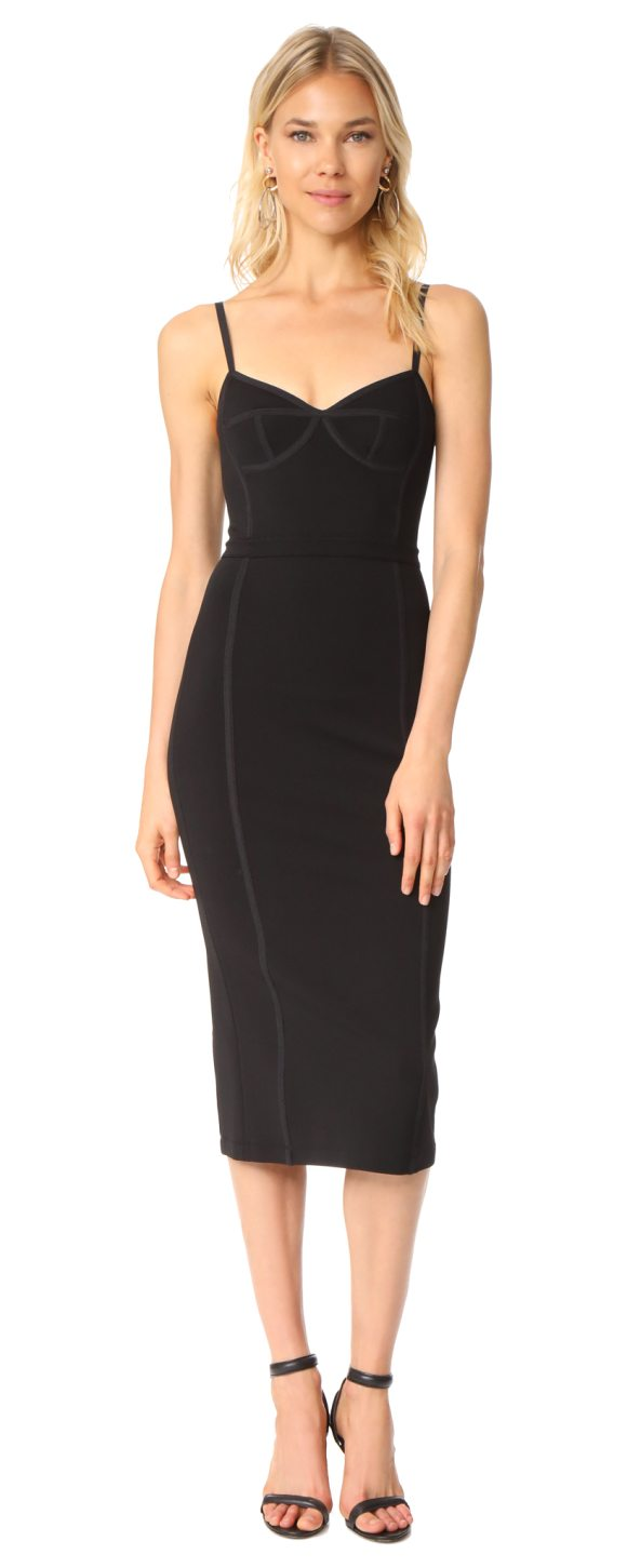T by Alexander Wang sleeveless fitted dress in black - Corset-like seaming with tonal piping accentuates the...