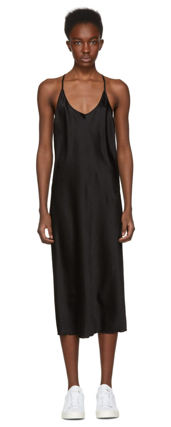 b0b990e16a8f T by Alexander Wang Wash And Go Slip Dress in Black | Shopstasy