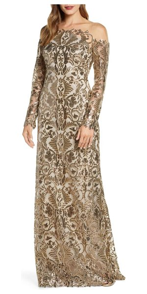 Tadashi Shoji embellished illusion long sleeve evening gown in antique