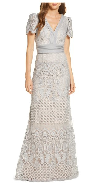 Tadashi Shoji embroidered lace evening gown in pewter/petal