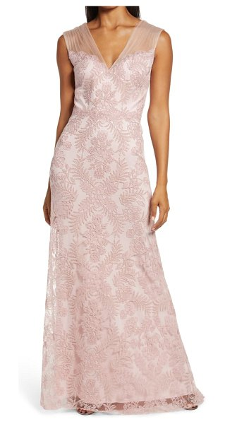 Tadashi Shoji embroidered lace evening gown in petal