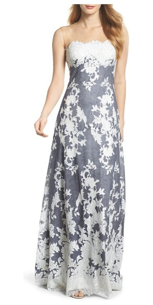 Tadashi Shoji Illusion Neck Embroidered Gown in Blue | Shopstasy