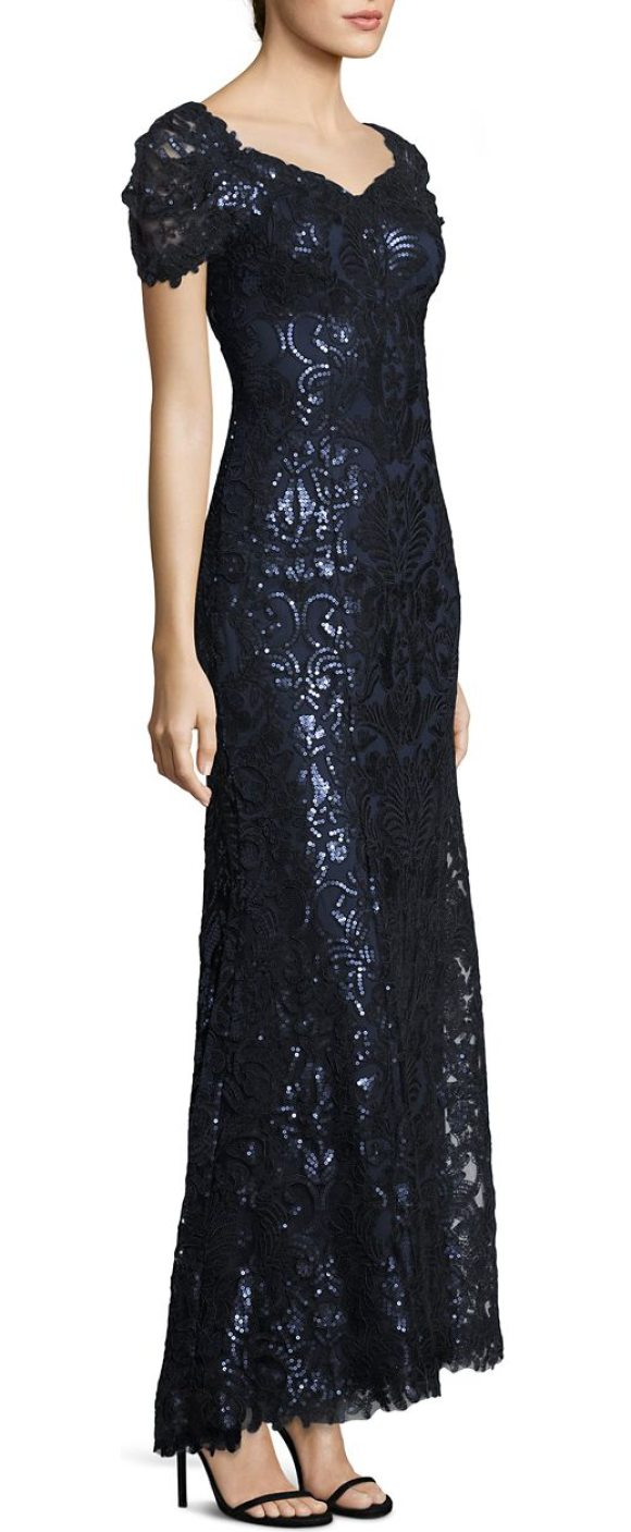 Tadashi Shoji Sequined Lace Off-The-Shoulder Sweetheart Gown in ...