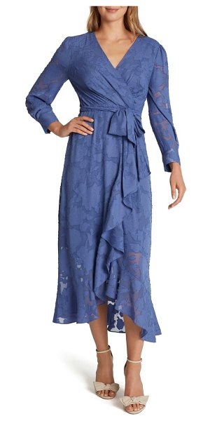 Tahari chiffon clip long sleeve faux wrap maxi dress in periwinkle