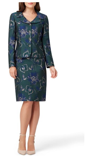 Tahari metallic floral jacquard jacket & skirt in navy green gold floral