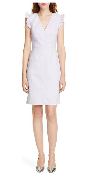 TAILORED BY REBECCA TAYLOR frill detail sleeveless linen blend sheath dress in faded lavender