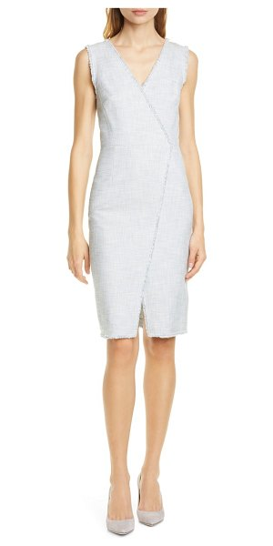 TAILORED BY REBECCA TAYLOR cotton blend slub sleeveless sheath dress in grey/ snow