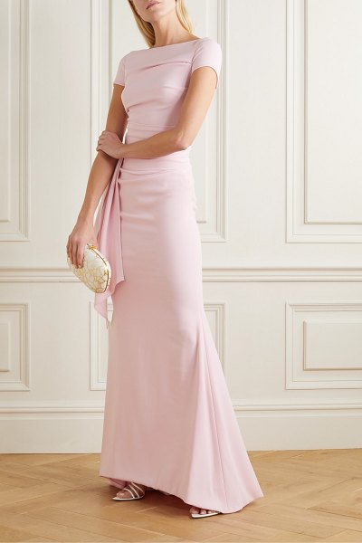 Talbot Runhof bouvier ruched draped crepe gown in pastel pink