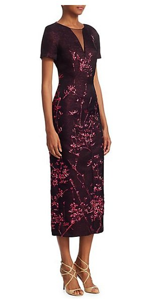 Talbot Runhof embroidered illusion-neck midi dress in cranberry