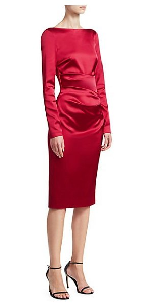 Talbot Runhof long-sleeve cocktail dress in scarlet - Ruched waist accentuates sheath dress' luscious satin...