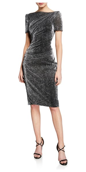 Talbot Runhof Metallic Voile Short-Sleeve Dress in gray