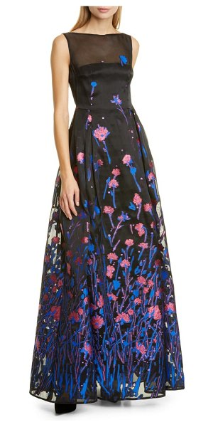 Talbot Runhof poppy field fil coupe gown in royal