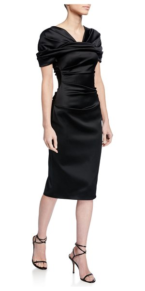 Talbot Runhof Satin Duchesse Midi Dress in black