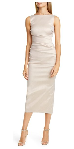 Talbot Runhof sorbet gazar midi cocktail dress in cream