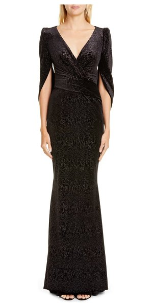 Talbot Runhof stardust stretch velvet gown in black