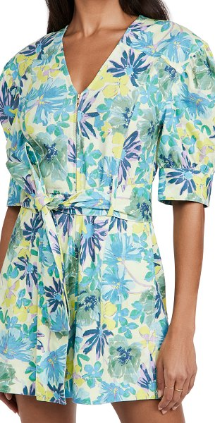Tanya Taylor becky romper in hibiscus floral neon yellow