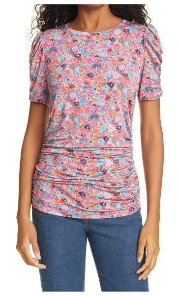 Tanya Taylor chaia floral ruched short sleeve top in mixed meadow hot pink