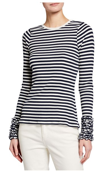 Tanya Taylor Christian Striped Ruffle-Sleeve Top in nav white