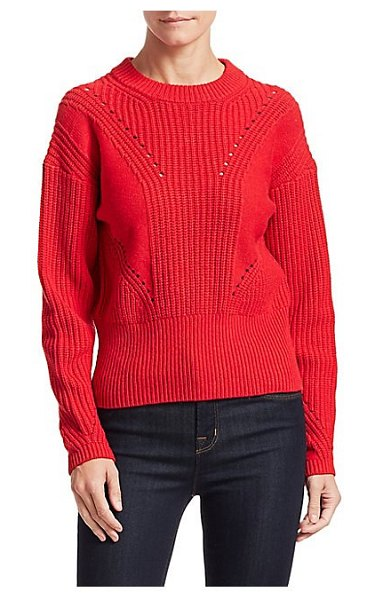 Tanya Taylor eloisa rib-knit sweater in red - Slouchy sweater textured with rib-knit and pointelle...