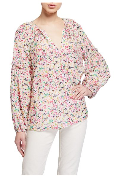 Tanya Taylor Illa Floral-Print V-Neck Top in multi pattern