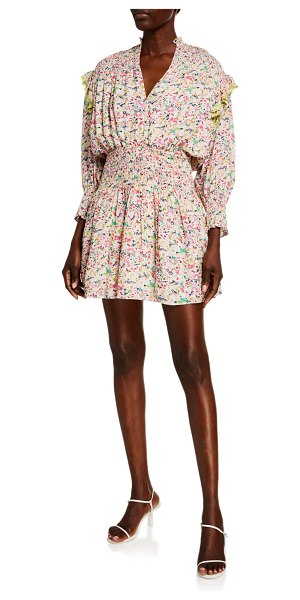 Tanya Taylor Imogen Floral Smocked Long-Sleeve Dress in multi pattern