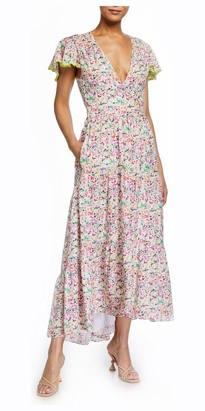 Tanya Taylor Liza Printed High-Low Maxi Dress in confetti ivory