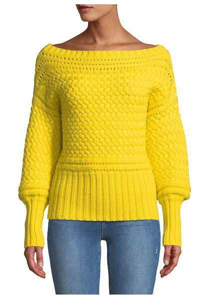 "Tanya Taylor Marie Cable-Knit Off-Shoulder Sweater in yellow - Tanya Taylor ""Marie"" sweater in cable-knit...."