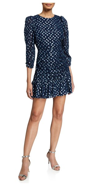 Tanya Taylor Raven Ruched Flounce Dress in navy