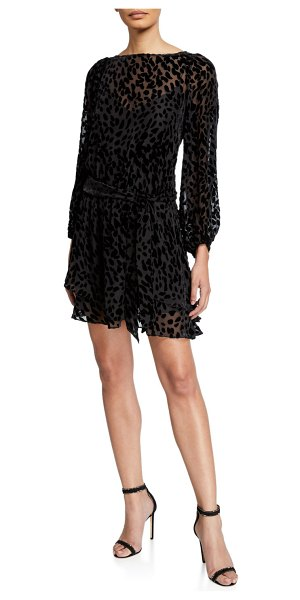Tanya Taylor Sarina Leopard Burnout Dress in black