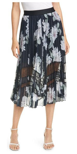 Ted Baker culsa clove metallic floral pleated skirt in black