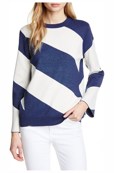 Ted Baker danyeil directional stripe sweater in navy - Shimmering blue stripes set at a bold angle give graphic...