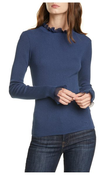 Ted Baker frill trim sweater in mid blue