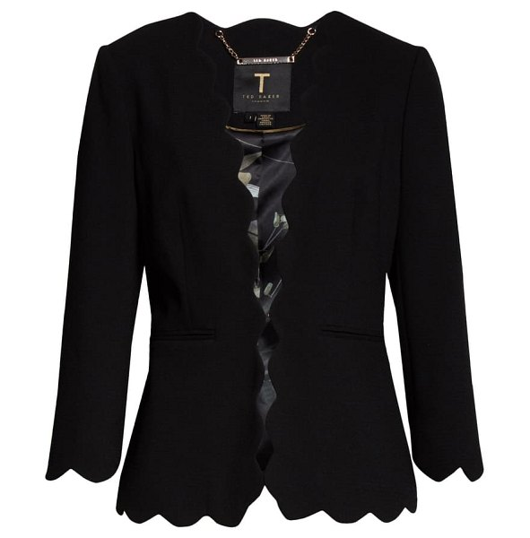 Ted Baker furna scalloped jacket in black