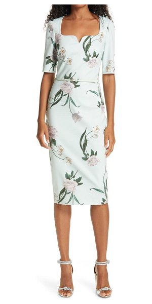 Ted Baker magieyy floral notched neck body-con dress in mint