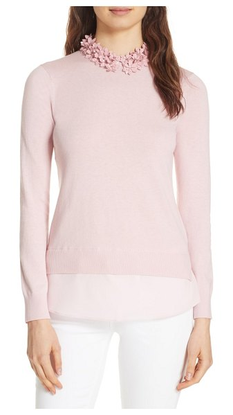 21f598a681 Ted Baker nansea floral collar tiered hem sweater in pink - A tiered  hemline instantly adds