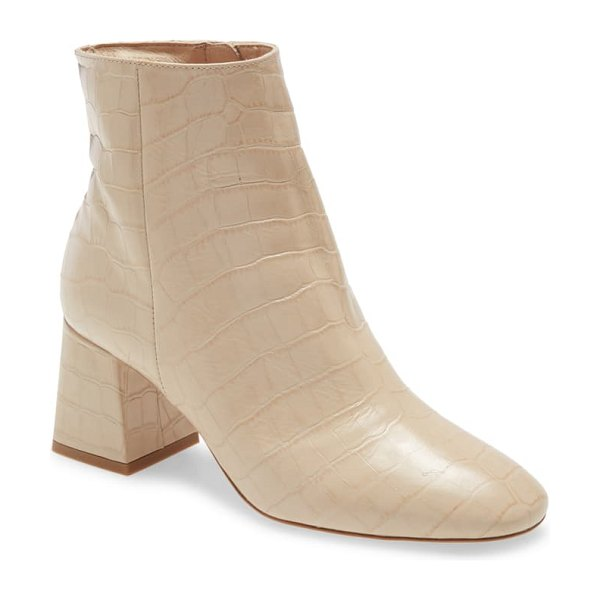 Ted Baker square block heel boot in nude leather