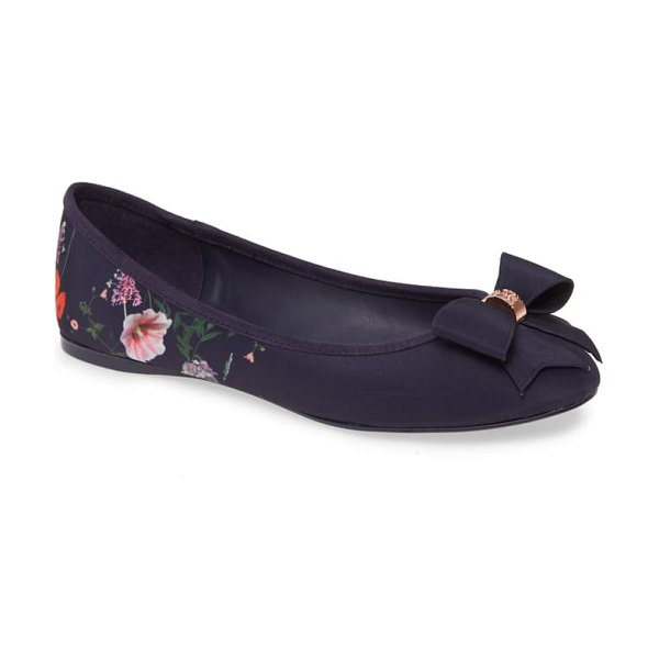 Ted Baker sually flat in navy hedgerow satin