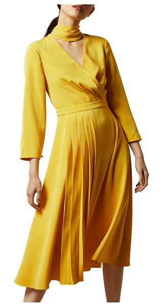 Ted Baker tie neck drapey pleated dress in yellow