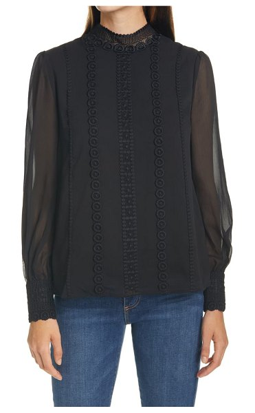 Ted Baker vessar lace trim chiffon blouse in black