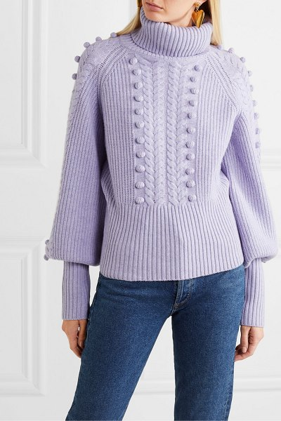 Temperley London chrissie cable-knit merino wool turtleneck sweater in lilac