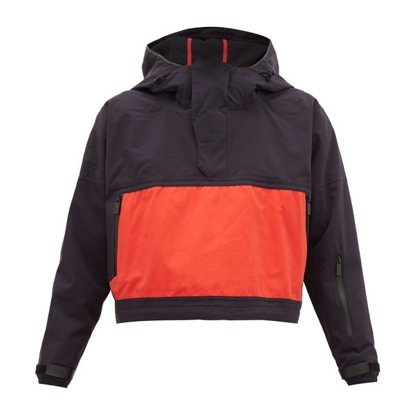 TEMPLA 2l hooded half-zip shell jacket in navy