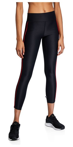 Terez Mid-Rise Cropped Leggings with Piping in black/red